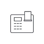 cash register thin line icon. Linear vector symbol