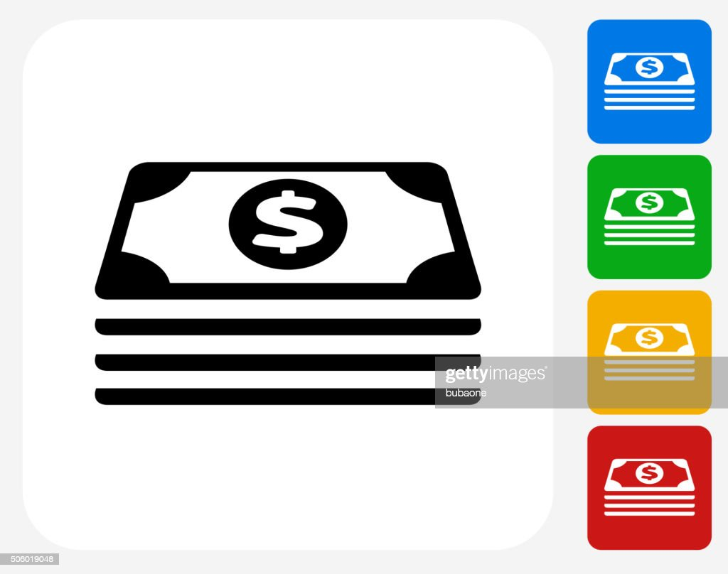 Cash Stack Icon Flat Graphic Design