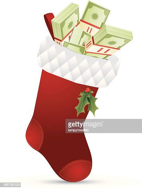cash stocking - christmas cash stock illustrations
