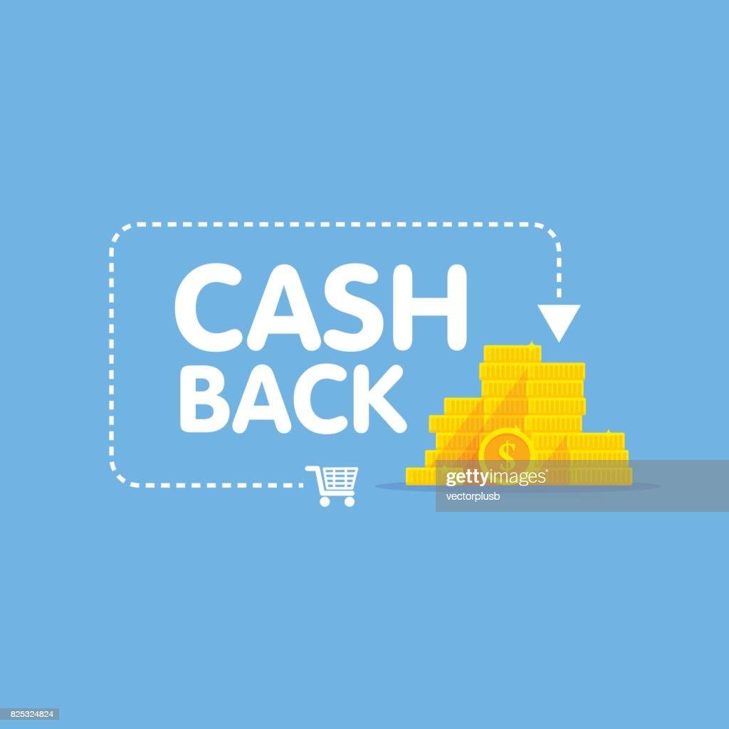 Cashback concept logo vector illustration coins and arrow