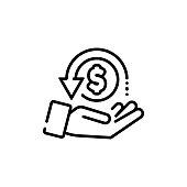 Cashback, return money, cash back rebate line icon. Salary exchange, hand holding dollar. Financial investment symbol. Vector on isolated white background. EPS 10