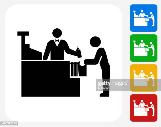Cashier and Customer Icon Flat Graphic Design