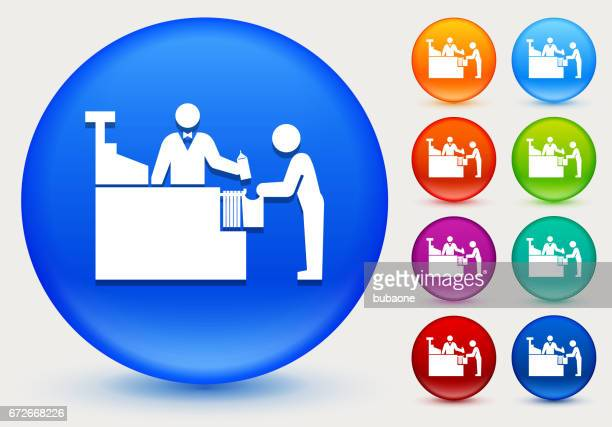 Cashier and Customer Icon on Shiny Color Circle Buttons