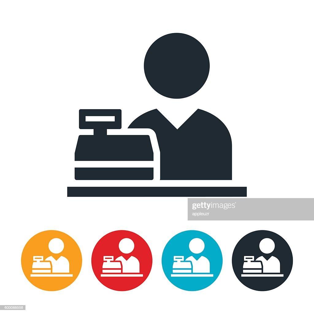 Cashier Behind Cash Register Icon
