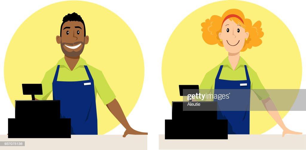 Cashier cartoons