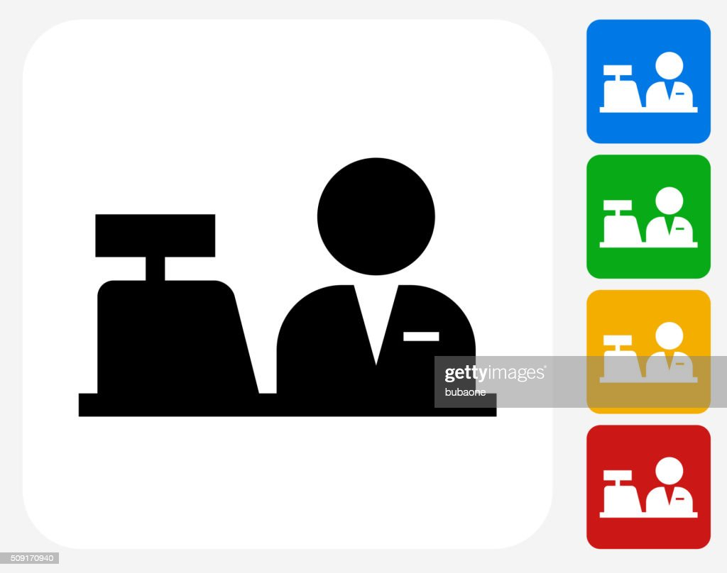 Cashier Icon Flat Graphic Design