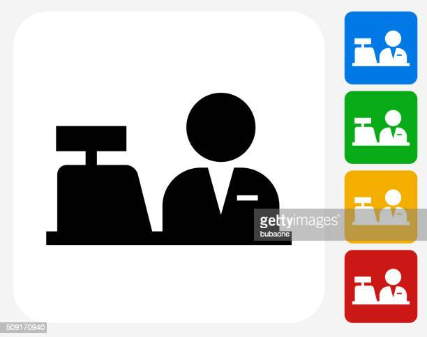 cashier icon flat graphic design - assistant stock illustrations, clip art, cartoons, & icons