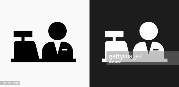 Cashier Icon on Black and White Vector Backgrounds