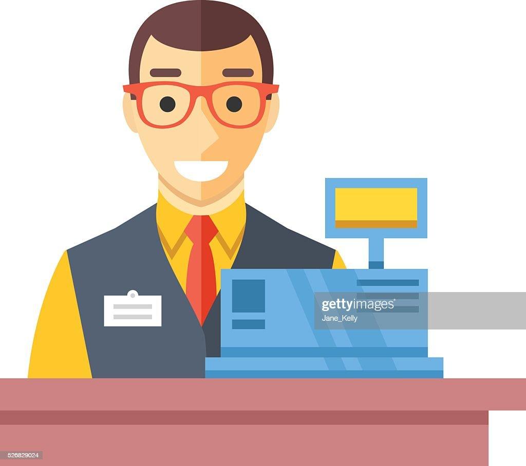 Cashier man at checkout counter. Counter desk, cash register, clerk