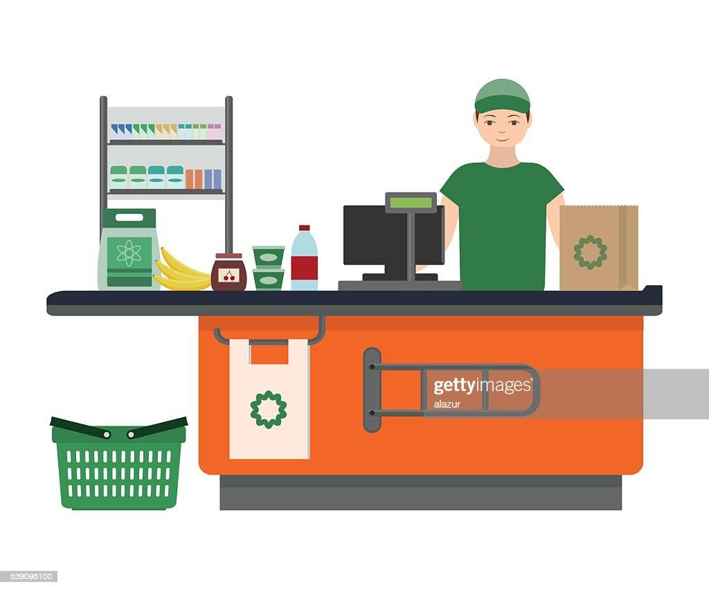 Cashier man prepares purchasing at supermarket