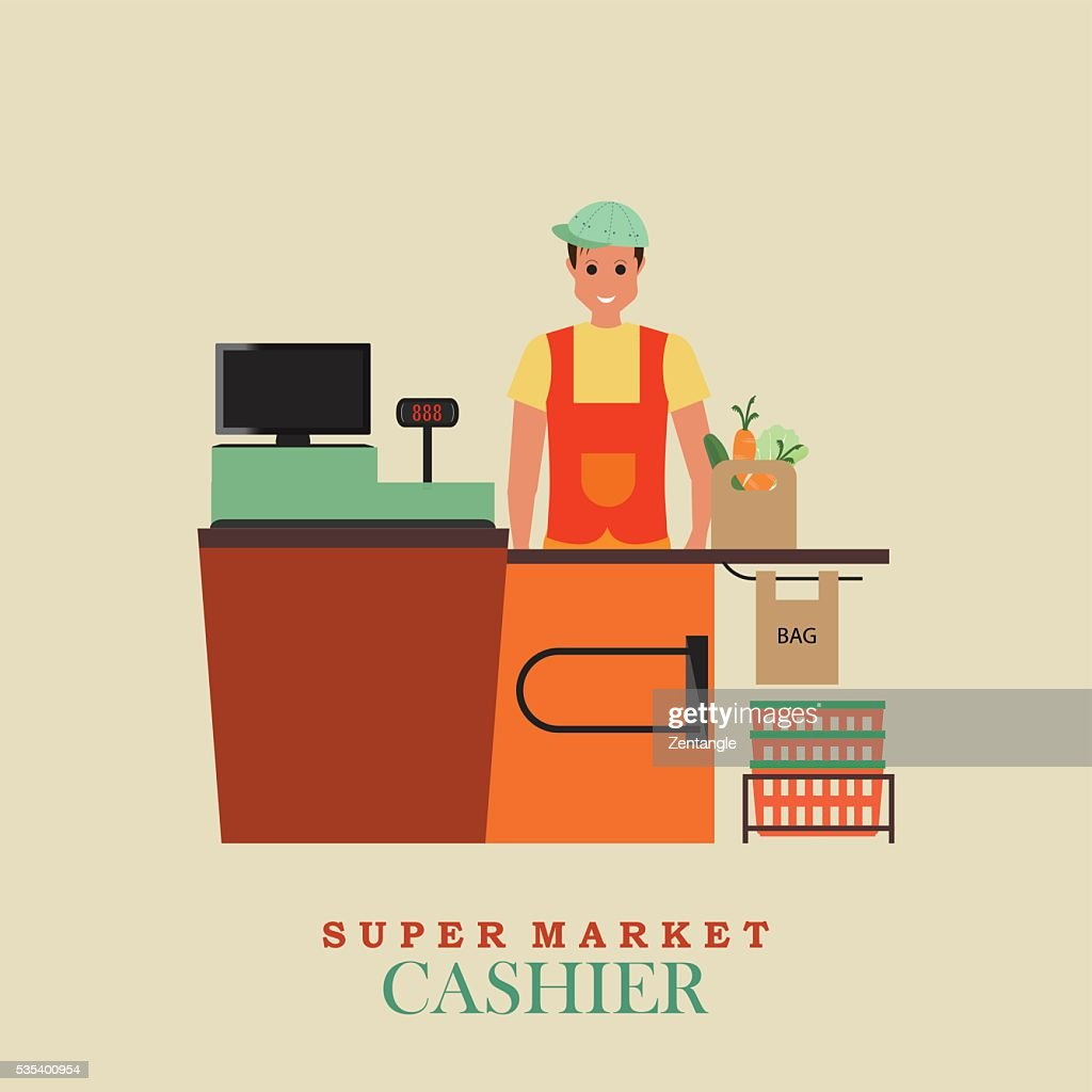 Cashier man smiles and  standing in supermarket.