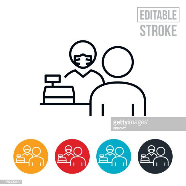 cashier wearing face mask while helping customer thin line icon - editable stroke - retail employee stock illustrations