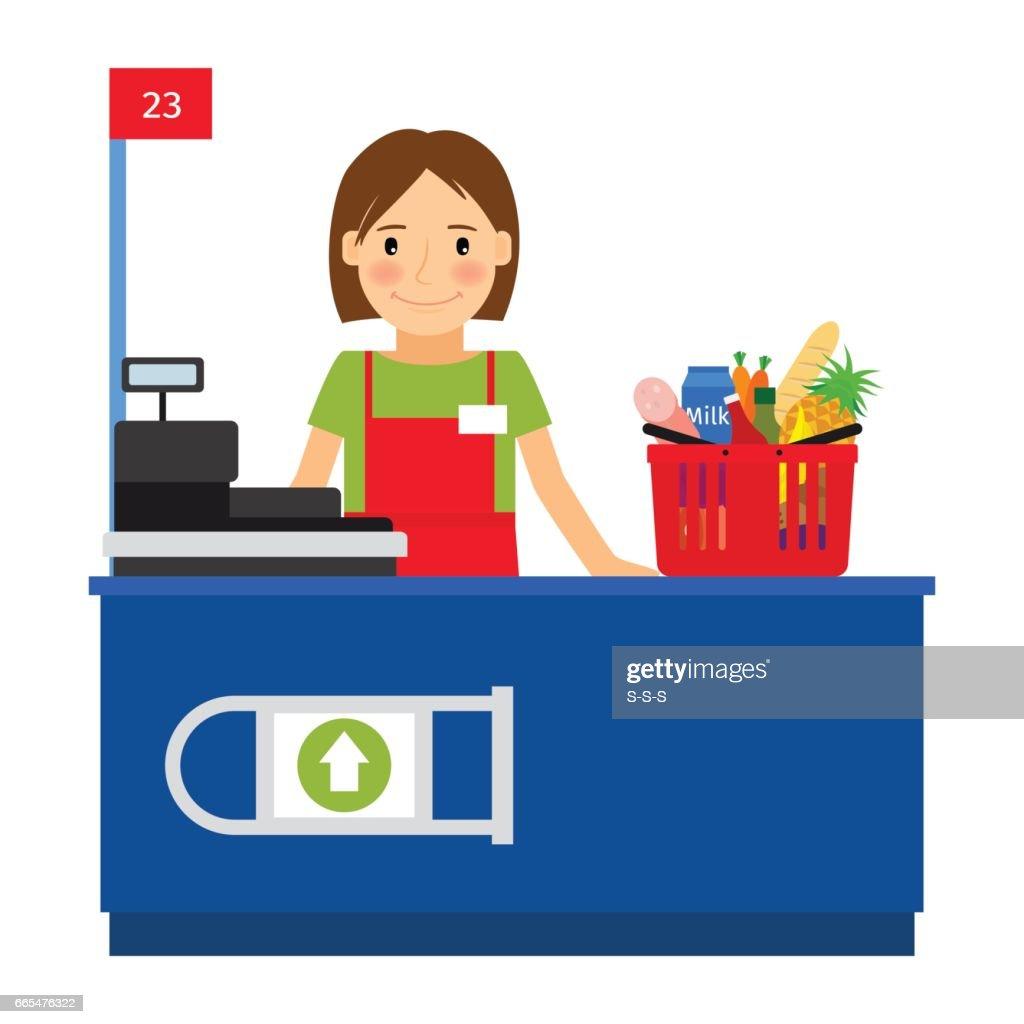 Cashier woman and shopping cart
