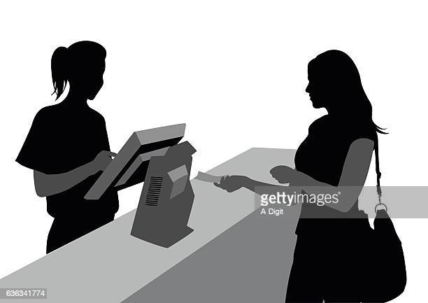 cashiers and customers - checkout stock illustrations, clip art, cartoons, & icons
