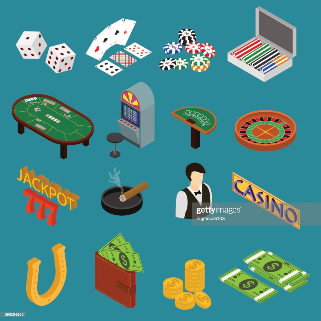 Casino and Gambling Game Set Isometric View. Vector