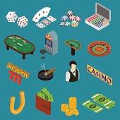 Casino and Gambling Game Set Isometric View. Vector