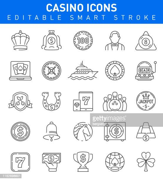 Casino and Gambling Games Icons. Editable stroke Collection