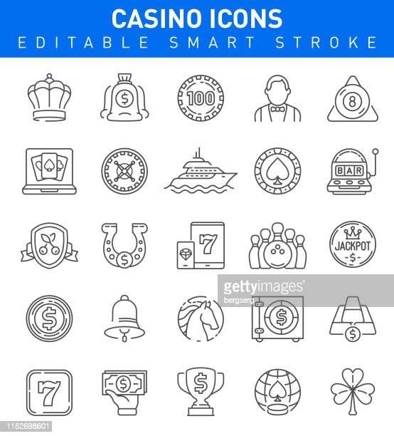 casino und glücksspiel-icons. bearbeitbare schlaganfallsammlung - hufeisen stock-grafiken, -clipart, -cartoons und -symbole