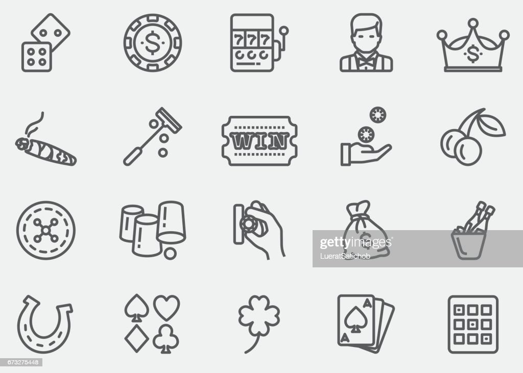 Casino and Gambling Line Icons | EPS 10 : stock illustration
