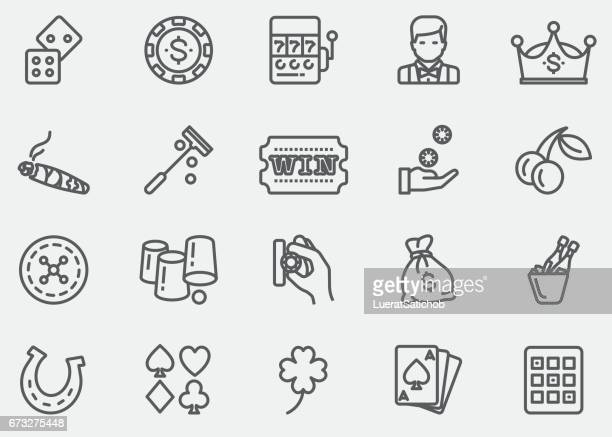 casino and gambling line icons | eps 10 - bingo stock illustrations