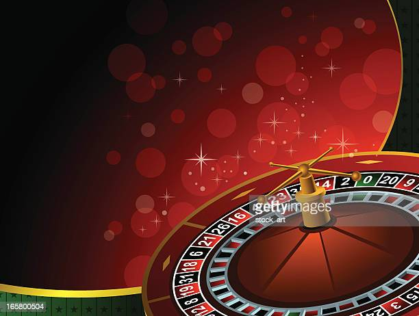 casino background with 3d roulette wheel - roulette stock illustrations