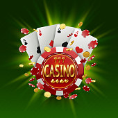 Casino banner in a frame on background.