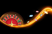 Casino banner with roulette, poker chips. Vector illustration the wheel fortune in casino