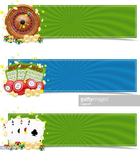 ilustraciones, imágenes clip art, dibujos animados e iconos de stock de casino de banners - bingo