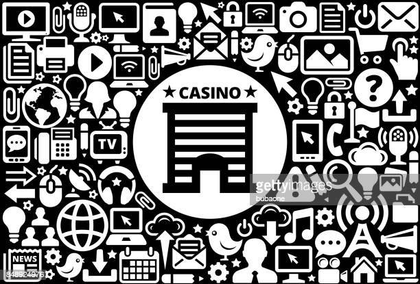 Casino Building Icon Black and White Internet Technology Background