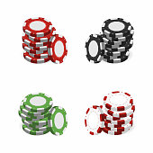 Casino chips in stack isolated on white background. Realistic 3d gambling chips