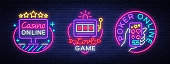 Casino collection of neon signs. Design template in neon style. Slot Machines, Poker Online Bright Logo Character, Winning Jackpot, Web Banner, Nightly Casino Advertising. Vector illustration