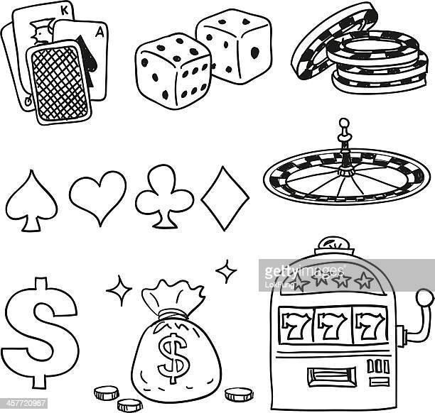 casino components icons in black white - slot machine stock illustrations, clip art, cartoons, & icons