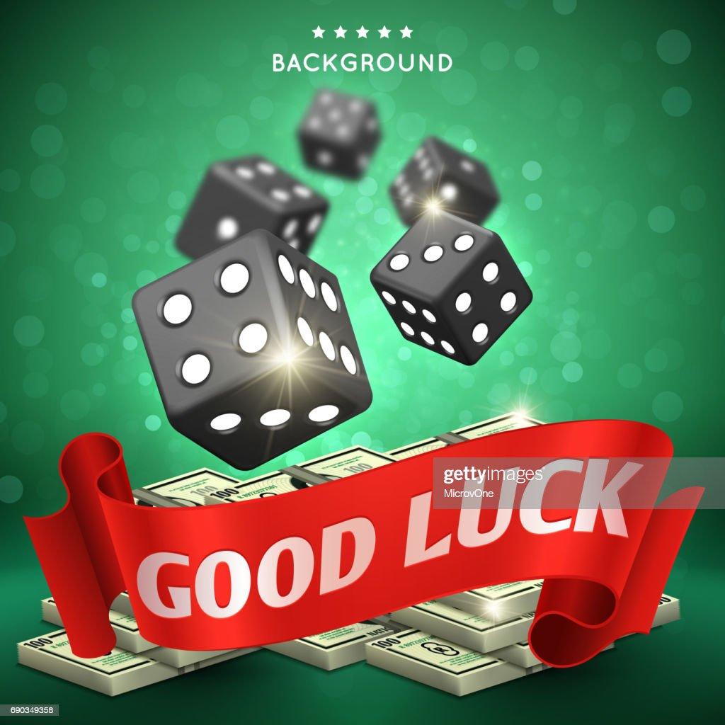 Casino dice gambling vector background. Good luck concept