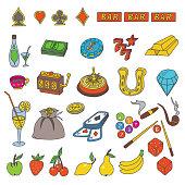 Casino Elements Doodles set
