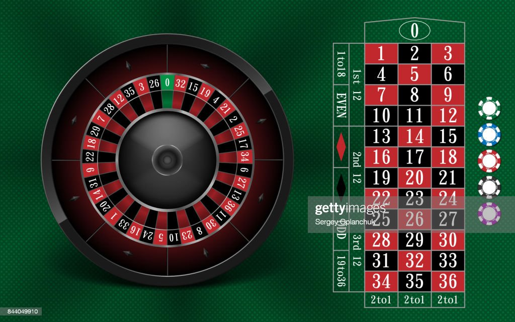 Casino Gambling background design with realistic Roulette Wheel and Casino Chips. Roulette table isolated on green background. Vector illustration