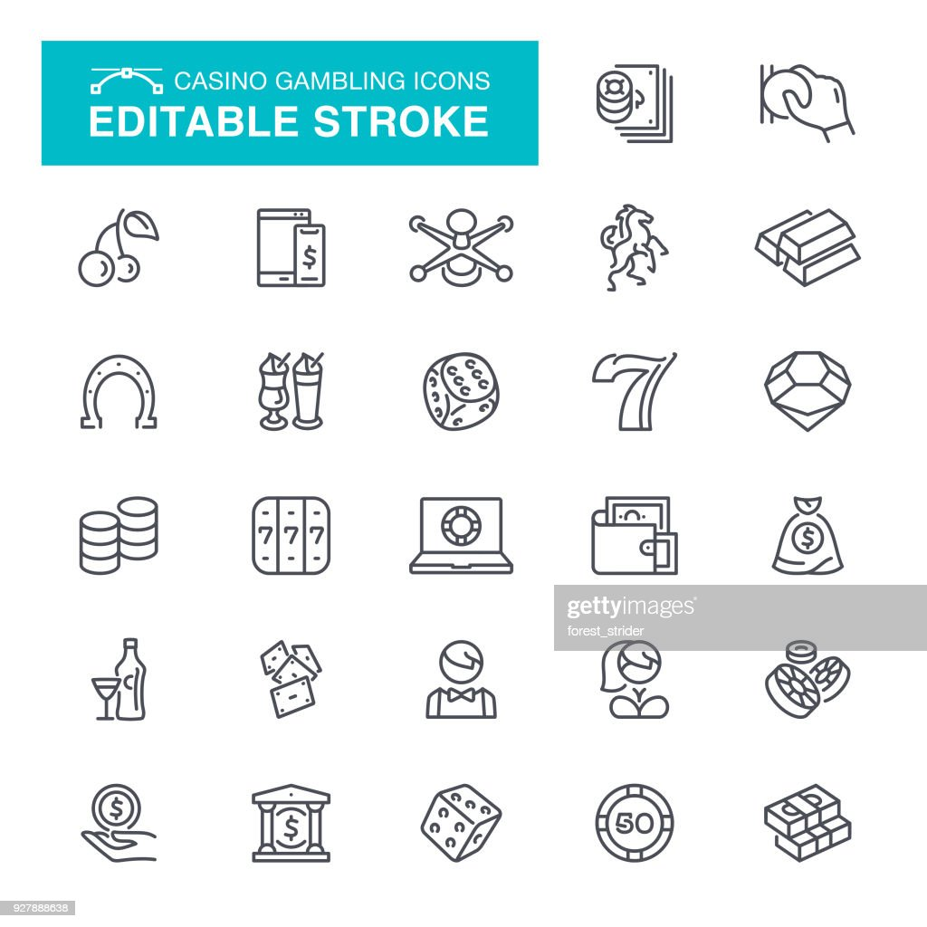 Casino Gambling Editable Stroke Icons : stock illustration