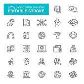 Casino Gambling Editable Stroke Icons