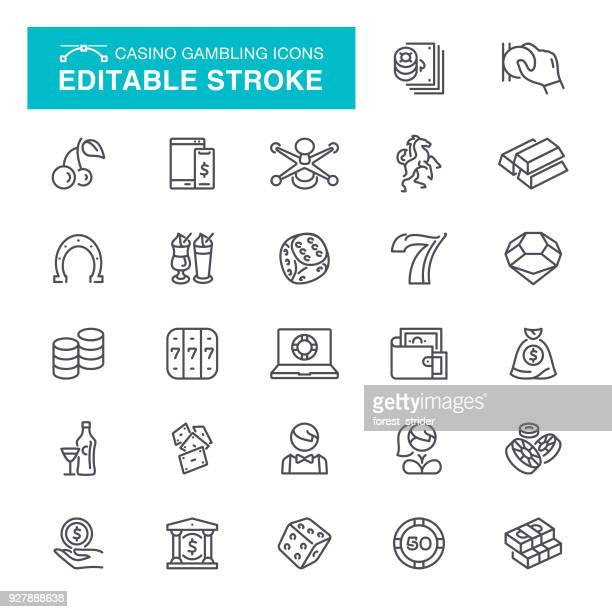 casino gambling editable stroke icons - bingo stock illustrations