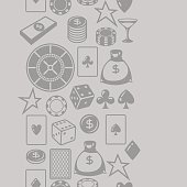 Casino gambling seamless pattern with game objects