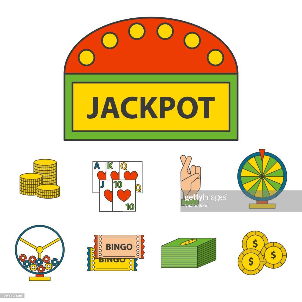 Casino Game Icons Poker Gambler Symbols Blackjack Winning