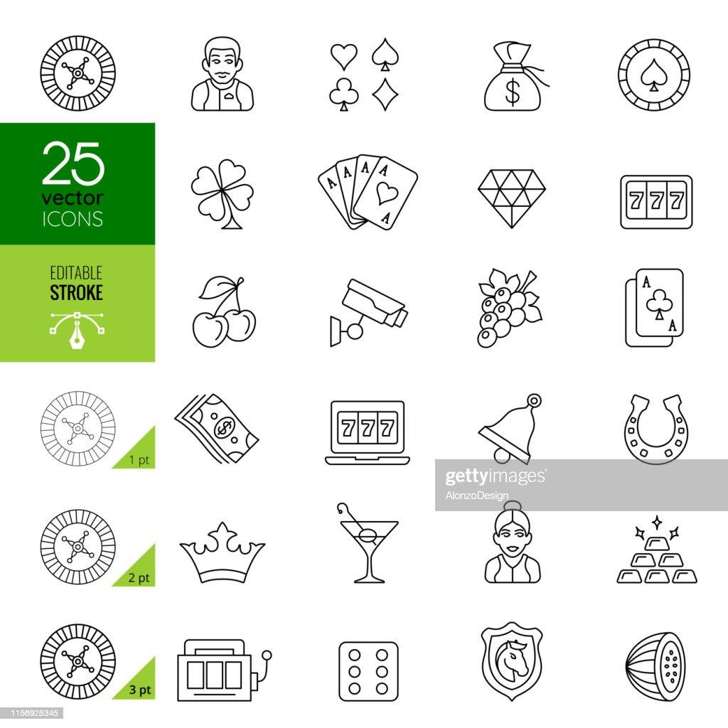 Casino Icon Set. Editable Stroke. : stock illustration