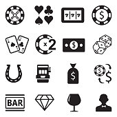 Casino Icons. Black Flat Design. Vector Illustration.