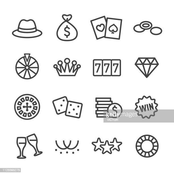 casino icons - line series - bingo stock illustrations