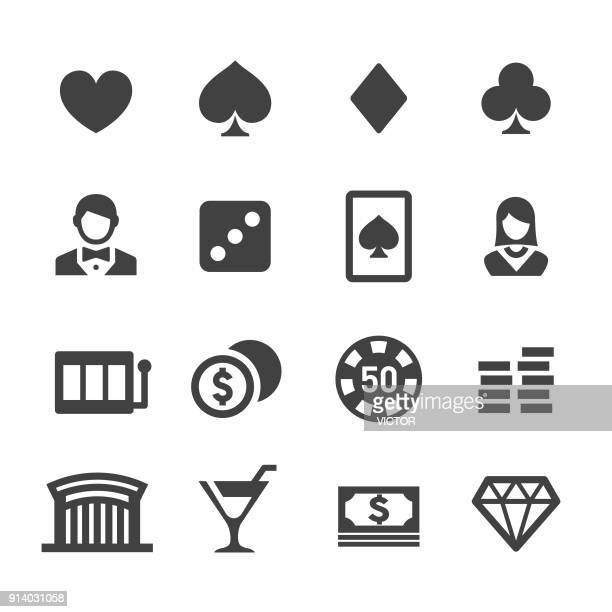 casino icons set - acme series - slot machine stock illustrations, clip art, cartoons, & icons