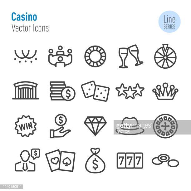 casino icons - vector line series - bingo stock illustrations