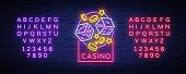 Casino is a neon sign. Neon icon,  , emblem gambling, bright banner, neon casino advertising for your projects. Night light billboard, design element. Vector illustration. Editing text neon sign