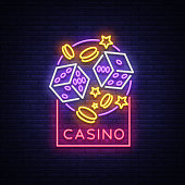 Casino is a neon sign. Neon logo, emblem gambling, bright banner, neon casino advertising for your projects. Night light billboard, design element. Vector illustration