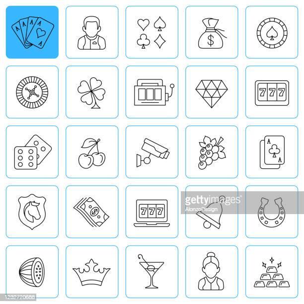 casino line icons. editable stroke. - ace stock illustrations