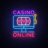 Casino Online neon sign vector. Casino Design template neon sign, light banner, neon signboard, modern trend design, nightly bright advertising, light inscription. Vector illustration