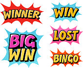 Casino or game icons. Lettering such as win, winner, lost